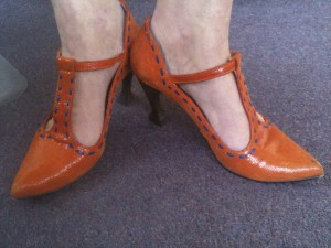 orange textured leather with teapot handle heel, post Board meeting February 2010