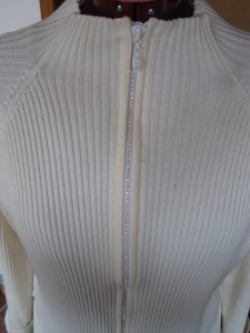Before - precouture sweater with bling zip