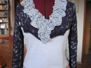 Recoutured sweaters and lace jacket