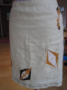 After - Front, recoutured skirt with appliques